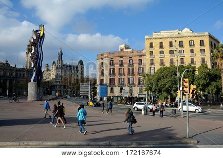 Barcelona Spain - December 3 2016: El Cap de Barcelona sculpture in Barcelona city Spain. Unidentified people visible.