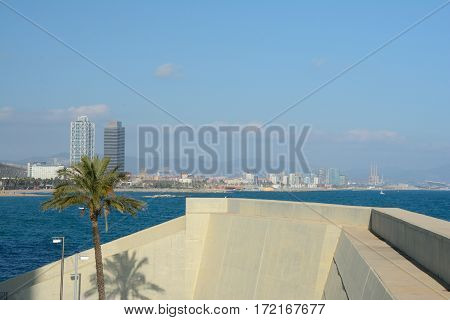 Barcelona Spain - December 3 2016: Concrete wall and tree at sea shore in Barcelona Spain