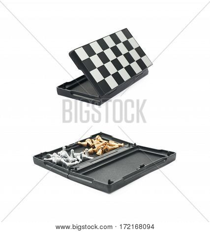Folded chess board isolated over the white background, set of two different foreshortenings