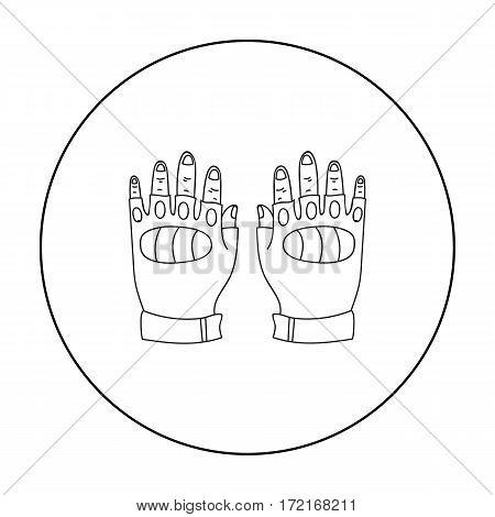 Fingerless gloves icon in outline design isolated on white background. Paintball symbol stock vector illustration.