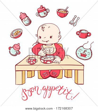 Cute baby is sitting at the table and is eating porridge. Set of icons on the topic of infant feeding. Hand-drawn illustration. Vector.