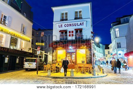 Paris France-February 15 2017: The cafe Le Consulat at night located in Montmartre area of ParisFrance.