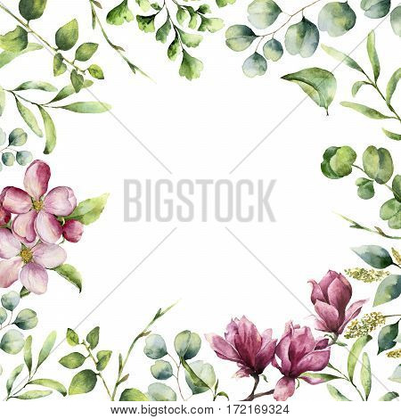 Watercolor floral frame with herbs and flowers. Hand painted plant card with eucalyptus, fern, spring greenery branches, cherry blossom and magnolia isolated on white background