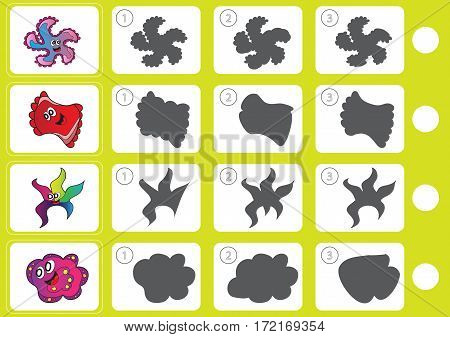 Match shadow puzzle - Worksheet for kids - education