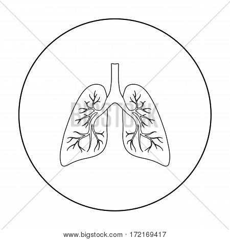 Lungs icon in outline style isolated on white background. Organs symbol vector illustration.