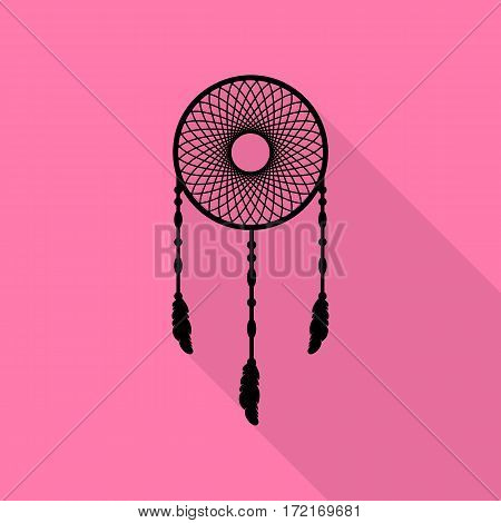 Dream catcher sign. Black icon with flat style shadow path on pink background.