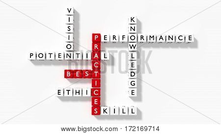 Crossword puzzle showing best practices components as dice on a white flat board 3D illustration