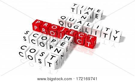 Crossword puzzle with dice showing project management components in red and white 3D illustration