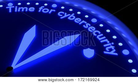 Clock with to hands glowing in deep blue pointing to the words time for cybersecurity 3D illustration