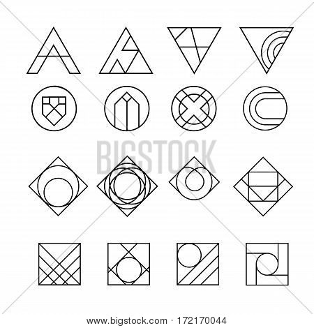 geometric abstract contour shapes, with different combinations of lines inside the shape. Vector illustration.