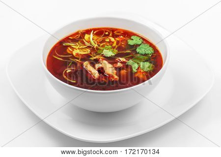 Soup, pork, egg, Chinese sauce, soy sauce, leek, white background