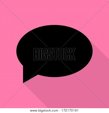 Speech bubble icon. Black icon with flat style shadow path on pink background.