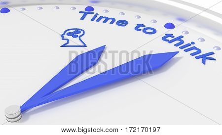 Clock with two blue hands pointing to the words time to think 3D illustration