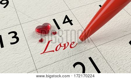 Paper calendar showing the fourteenth with red glass hearts and a pen writing the word love valentines day concept 3D illustration