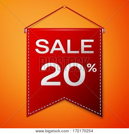 Red pennant with inscription sale twenty percent Discounts over a orange background. Sale concept for shops store market, web and other commerce. Vector illustration.