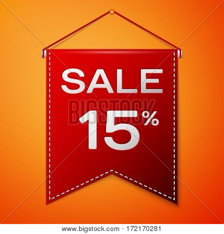 Red pennant with inscription sale fifteen percent Discounts over a orange background. Sale concept for shops store market, web and other commerce. Vector illustration.
