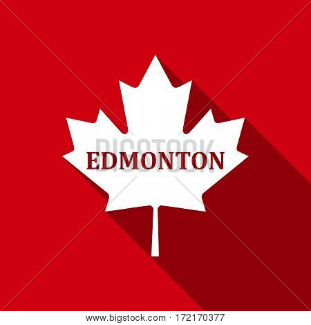 Canadian maple leaf with city name Edmonton flat icon with long shadow. Vector Illustration
