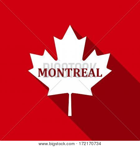Canadian maple leaf with city name Montreal flat icon with long shadow. Vector Illustration