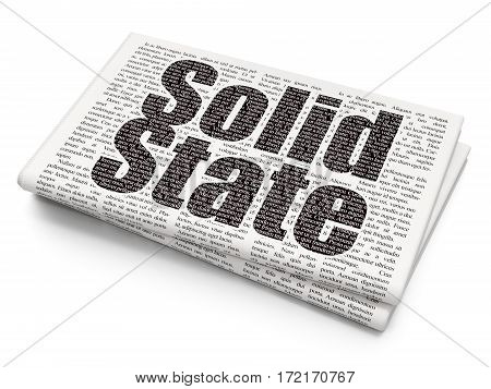 Science concept: Pixelated black text Solid State on Newspaper background, 3D rendering