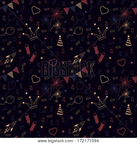 Vector Happy Birthday texture. Children seamless background