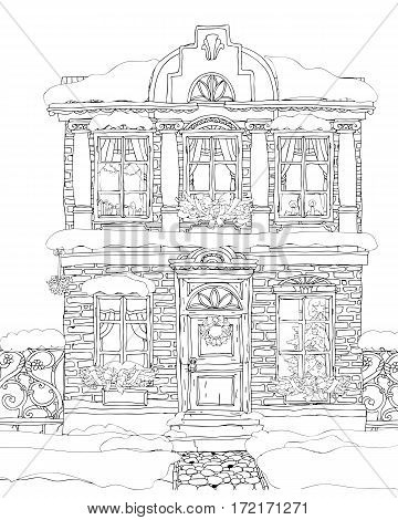Christmas Fantasy house facade. Fairy tale house. high detailed. T-shirt print. Album cover. Coloring book page for adults. Black White