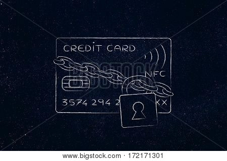 Credit Card With Lock And Chain As Funny Payment Safety