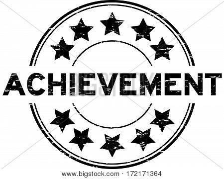 Grunge black achievement with star icon round rubber seal stamp on white background