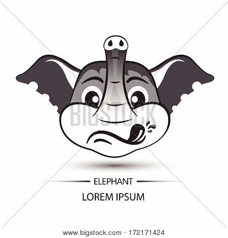 Elephant Face Touchy Logo And White Background Vector