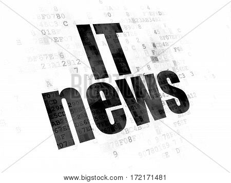 News concept: Pixelated black text IT News on Digital background