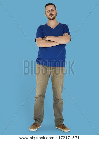 Man Standing in a studio shoot isolated on background