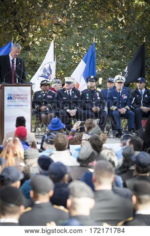 NEW YORK - 11 NOV 2016: New York City Mayor Bill De Blasio at the opening ceremony in Madison Square Park before the annual Americas Parade up 5th Avenue on Veterans Day in Manhattan.