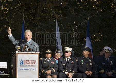 NEW YORK - 11 NOV 2016: Paul Bucha, Medal of Honor recipient speaks at the opening ceremony in Madison Square Park before the annual Americas Parade up 5th Avenue on Veterans Day in Manhattan.