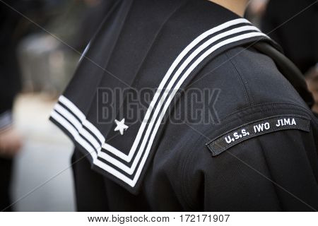 NEW YORK - 11 NOV 2016: Close up of the USS Iwo Jima LHD 7 patch on the uniform of a sailor at the Opening ceremony in Madison Square Park before the annual Americas Parade up 5th Ave on Veterans Day.
