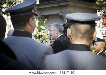 NEW YORK - 11 NOV 2016: New York City Mayor Bill De Blasio at the Eternal Light Monument wreath laying ceremony in Madison Square Park before the annual Americas Parade on Veterans Day in Manhattan.