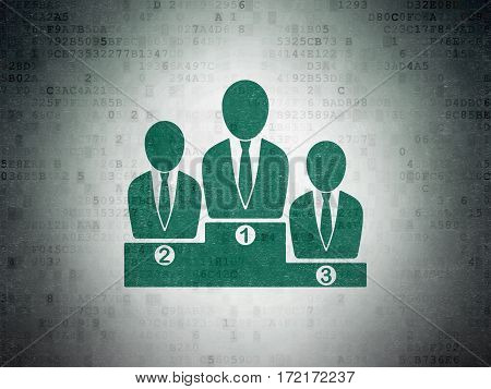 News concept: Painted green Business Team icon on Digital Data Paper background