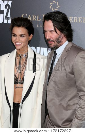 LOS ANGELES - JAN 30:  Ruby Rose, Keanu Reeves at the