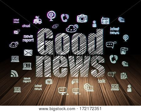 News concept: Glowing text Good News,  Hand Drawn News Icons in grunge dark room with Wooden Floor, black background