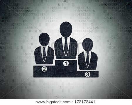 News concept: Painted black Business Team icon on Digital Data Paper background