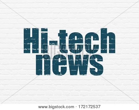 News concept: Painted blue text Hi-tech News on White Brick wall background