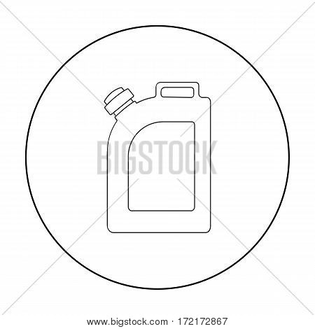 Oil jerrycan icon in outline style isolated on white background. Oil industry symbol vector illustration.