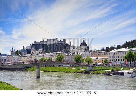 Salzburg austria - april 25: the salzach river and city skyline in salzburg austria. shot taken on april 25th 2015.