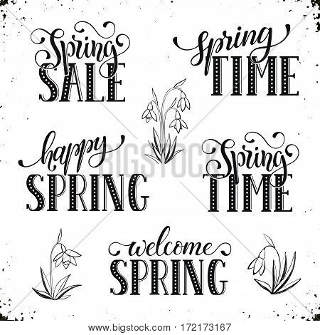 Hand written Spring time phrases. Greeting card text templates isolated on white background. Spring Sale lettering in modern calligraphy style. Hello Spring wording.