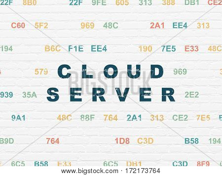 Cloud computing concept: Painted blue text Cloud Server on White Brick wall background with Hexadecimal Code