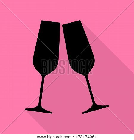 Sparkling champagne glasses. Black icon with flat style shadow path on pink background.
