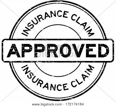 Grunge black insurance claim approved round rubber seal stamp