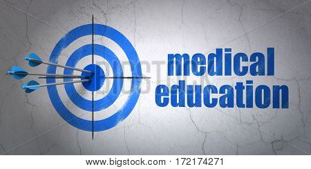 Success Learning concept: arrows hitting the center of target, Blue Medical Education on wall background, 3D rendering