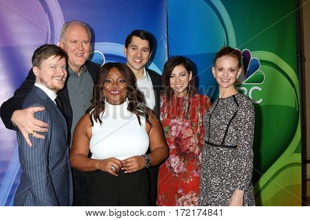 LOS ANGELES - JAN 18: Steven Boyer, John Lithgow, Sherri Shepherd, Nick D'Agosto, Krysta Rodriguez, Jayma Mays at the NBC/Universal TCA Winter 2017 at Langham Hotel on January 18, 2017 in Pasadena, CA