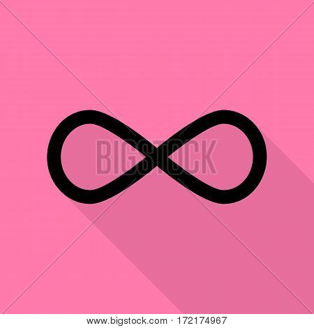 Limitless symbol illustration. Black icon with flat style shadow path on pink background.