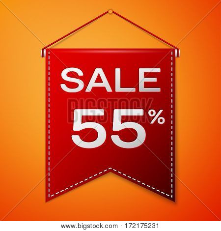 Red pennant with inscription sale fifty five percent Discounts over a orange background. Sale concept for shops store market, web and other commerce. Vector illustration.