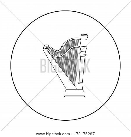Harp icon in outline style isolated on white background. Musical instruments symbol vector illustration